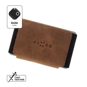 Kožená peněženka FIXED Smile Tiny Wallet se smart trackerem FIXED Smile Motion, hnědá